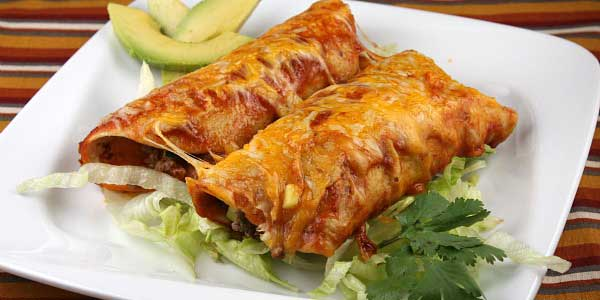Beef and cheese enchiladas from Rise & Shine's Mexican food catering menu