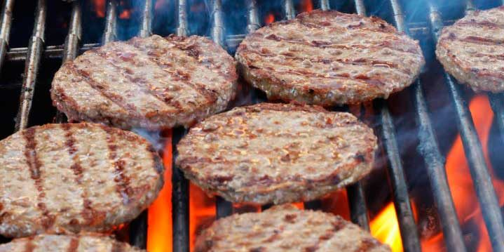 Burgers patties on the grill