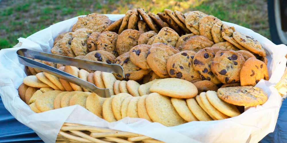 Cookie platter as part of Rise & Shine's BBQ catering service