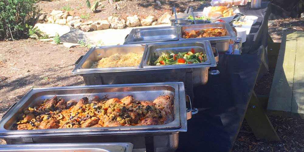 Film set catering buffet service.
