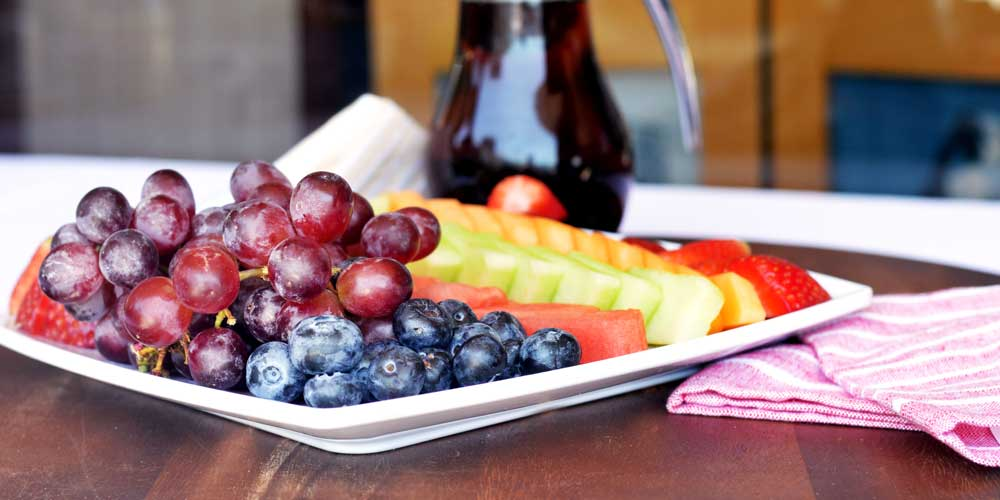 Fresh in-season fruit platters as part of Rise & Shine's corporate catering service