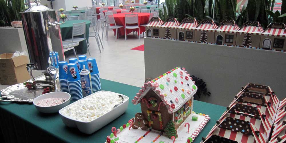Gingerbread house as part of Rise & Shine's holiday catering service