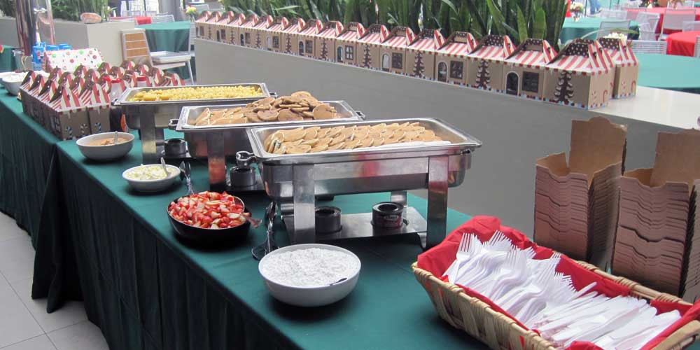 Buffet table set-up as part of Rise & Shine's holiday catering service