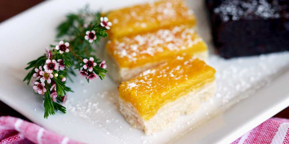 Lemonbars plated as part of Rise & Shine's corporate catering service