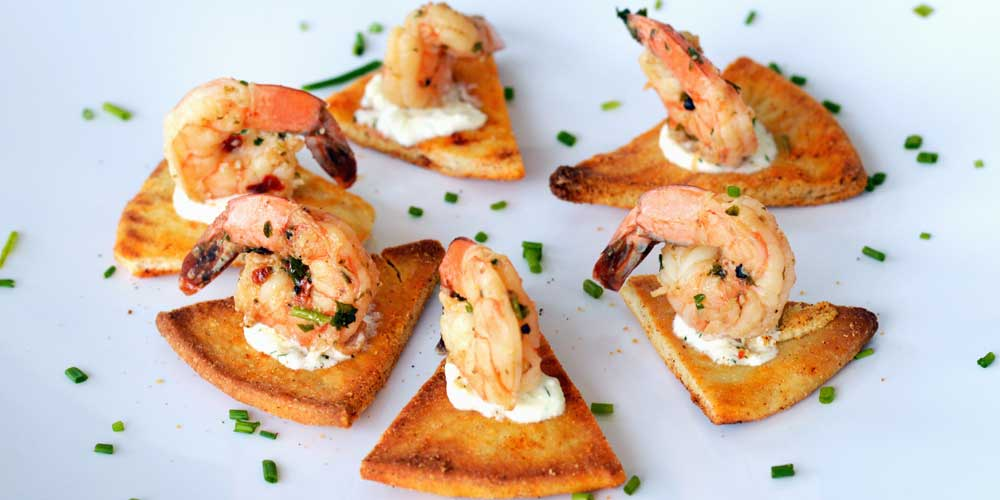 Shrimp appetizer service from Rise & Shine's wedding catering menu